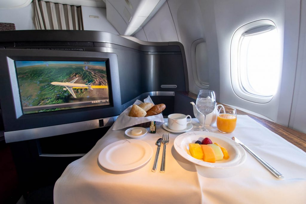 Cathay Pacific First Class Breakfast