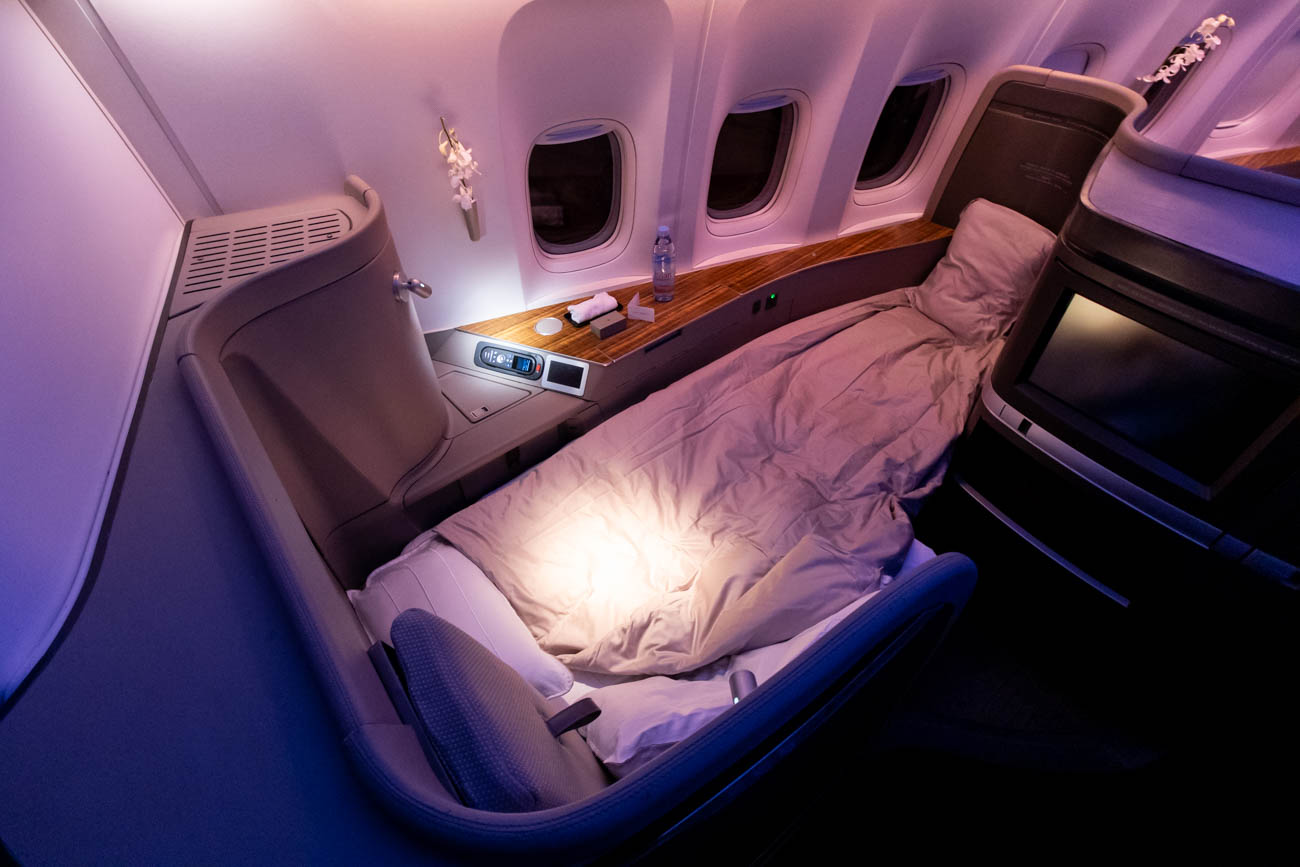 Cathay Pacific 777-300ER First Class Bed from Vancouver to New Y