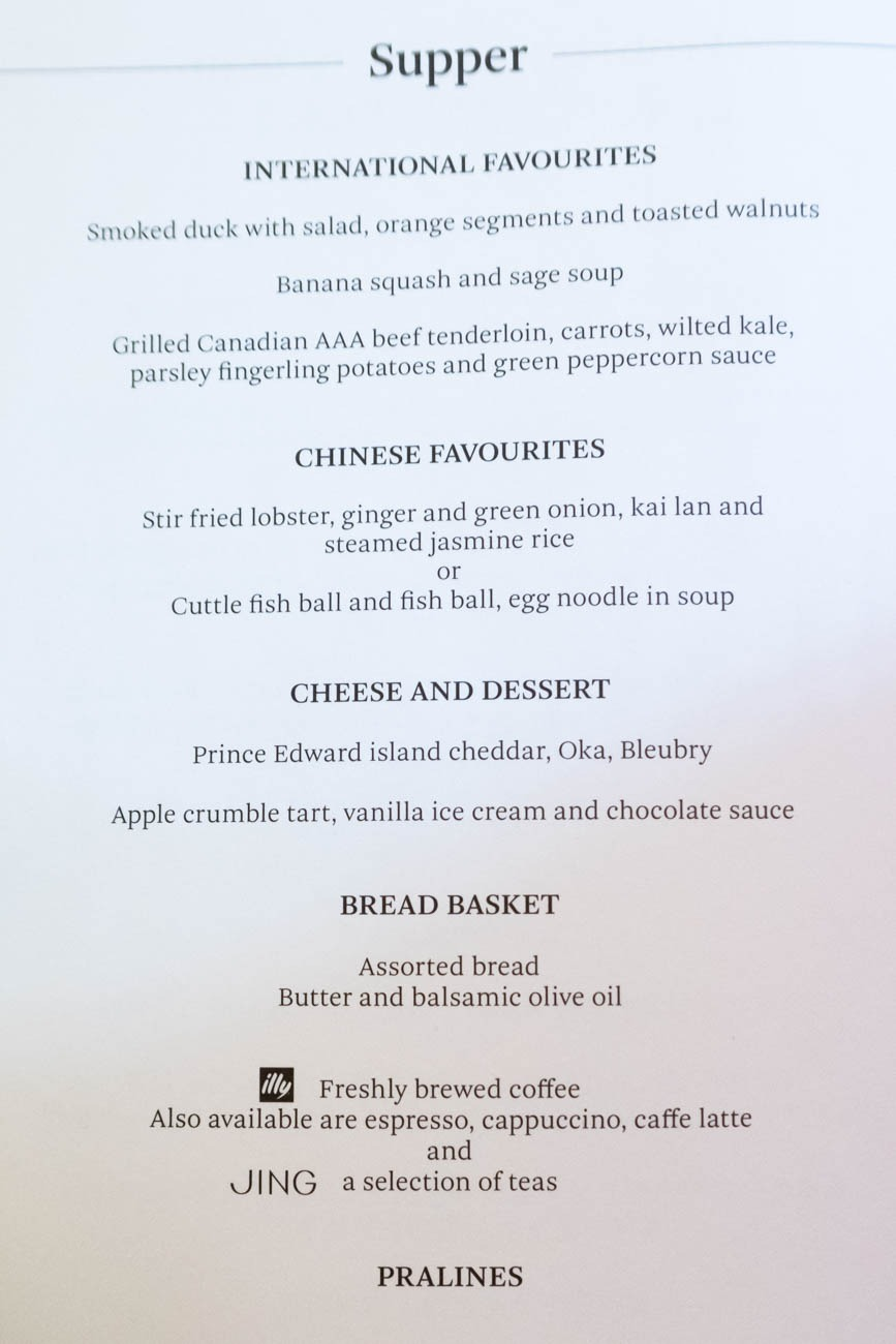 Cathay Pacific First Class from Vancouver to New York Menu
