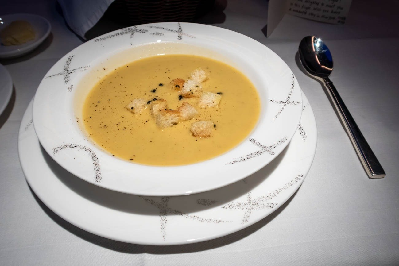 Cathay Pacific First Class from Vancouver to New York Soup