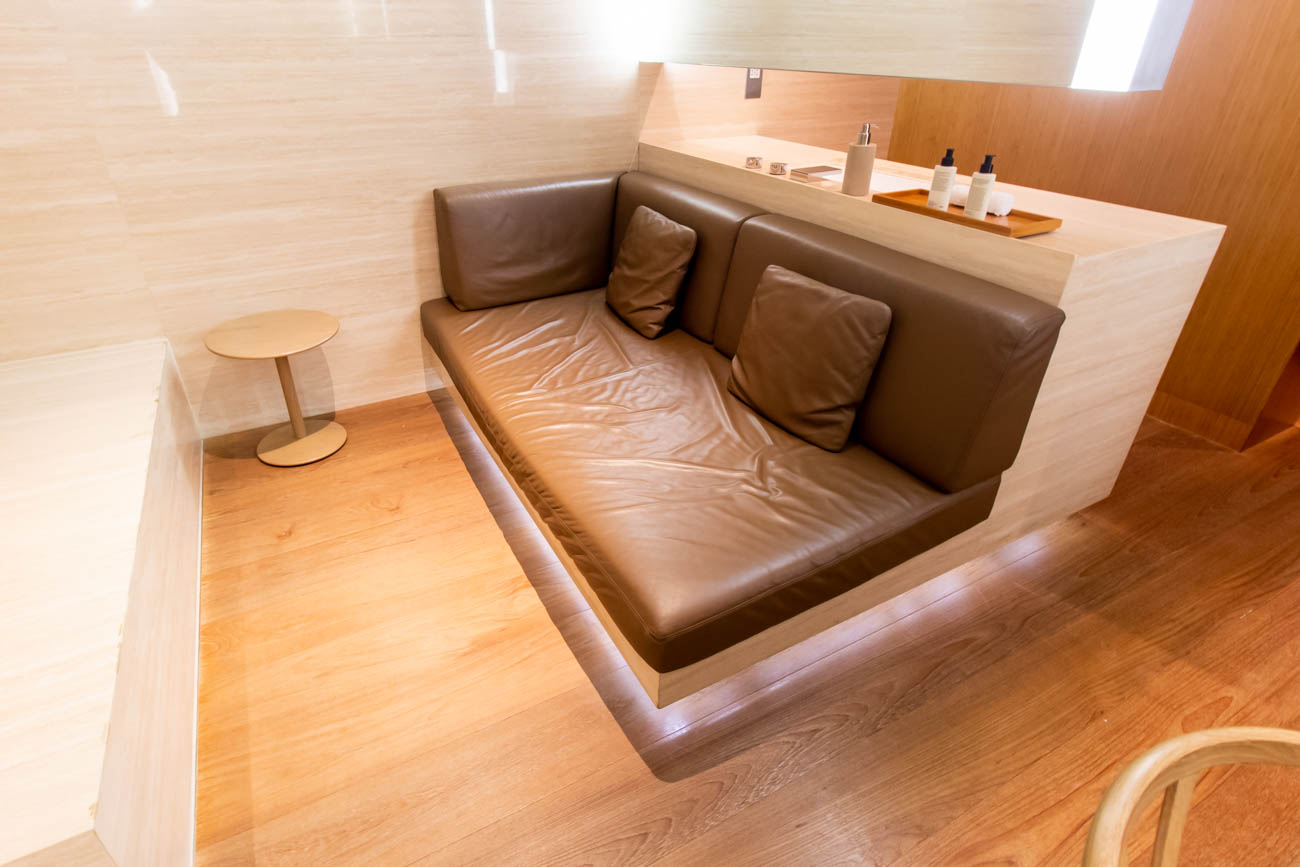 Cathay Pacific The Wing First Lounge Daybed in a Cabana