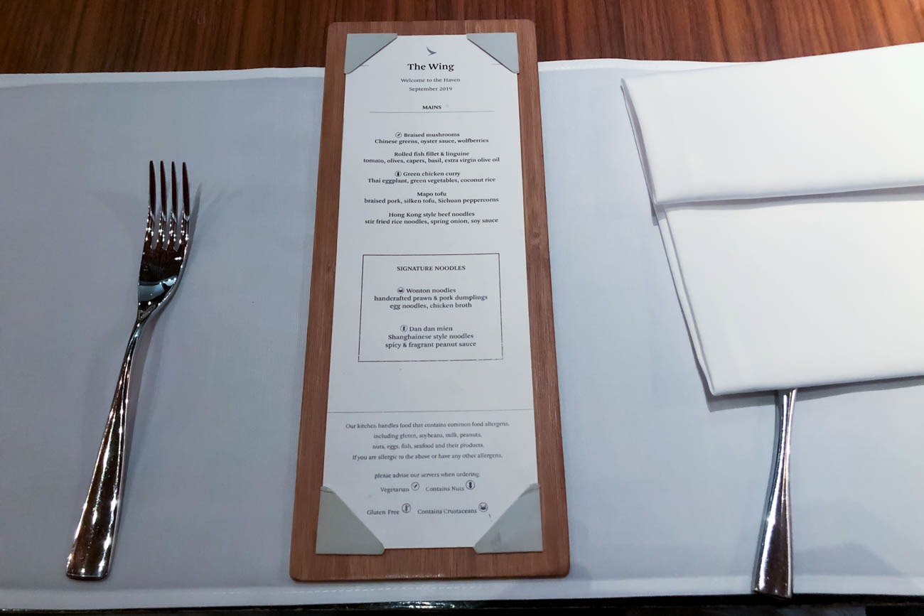 Cathay Pacific The Wing First Restaurant Dinner Menu