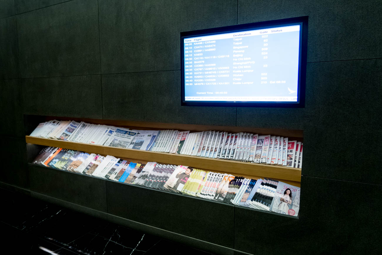 Cathay Pacific The Wing First Lounge Newspapers and Magazines