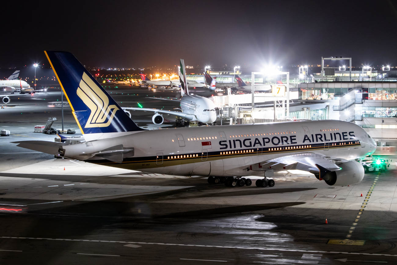 Singapore Airlines A380 at New York JFK