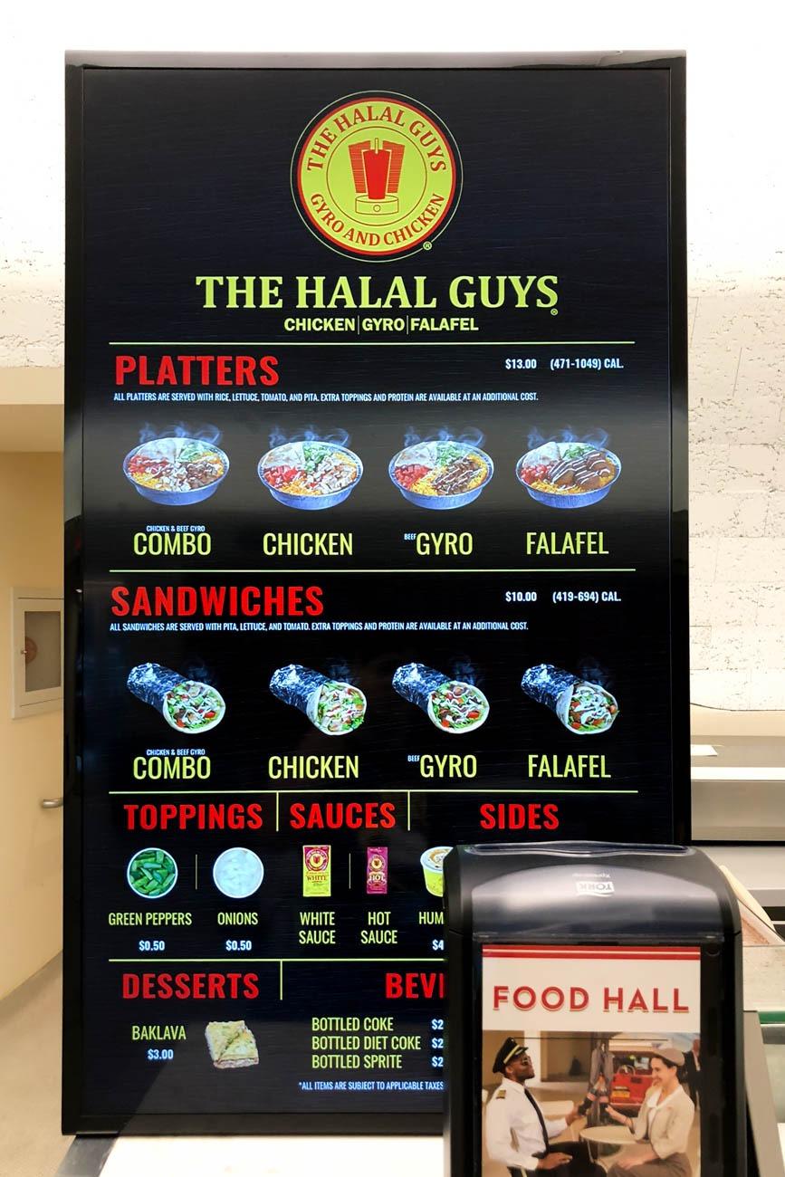 The Halal Guys Menu at TWA Hotel