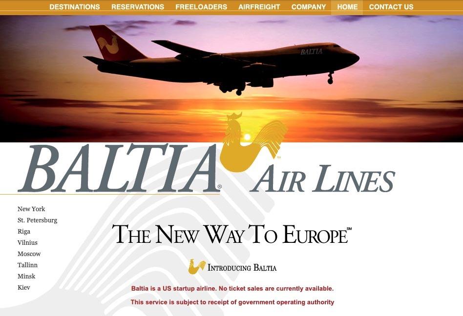 Baltia Air Lines Website