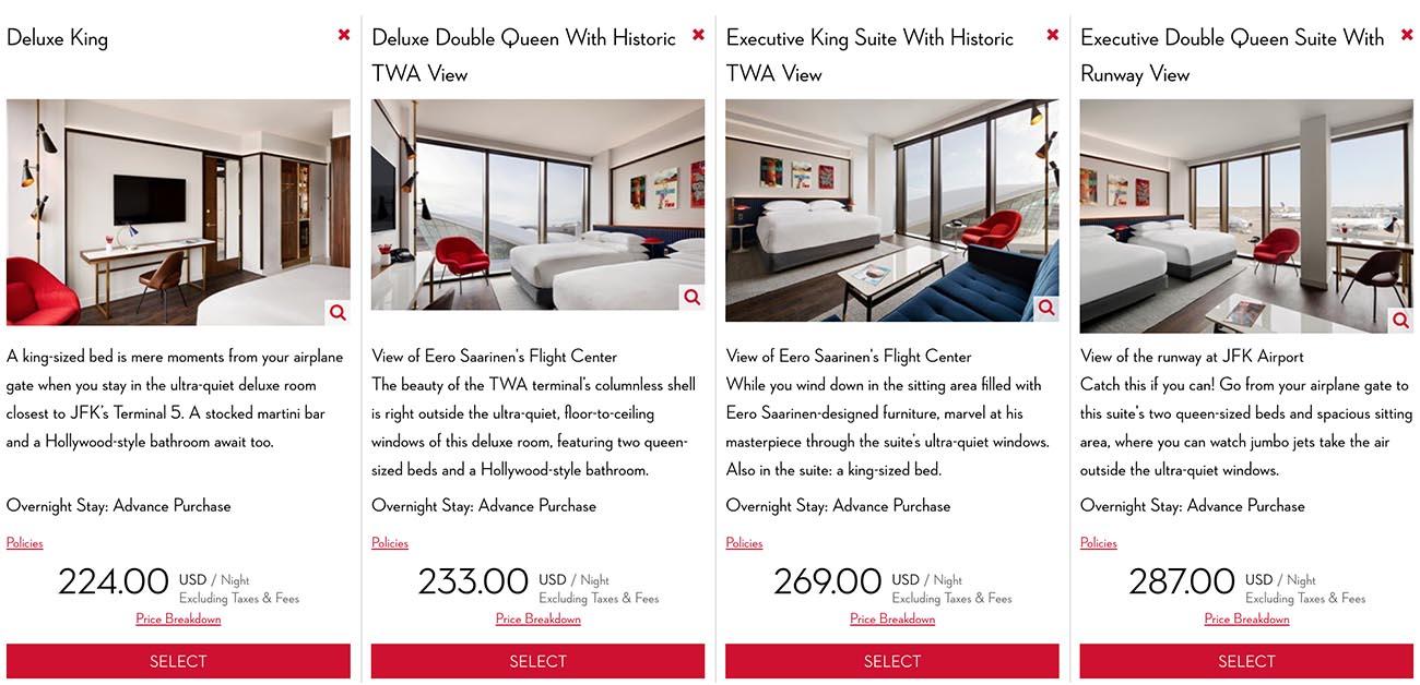 TWA Hotel Room Types