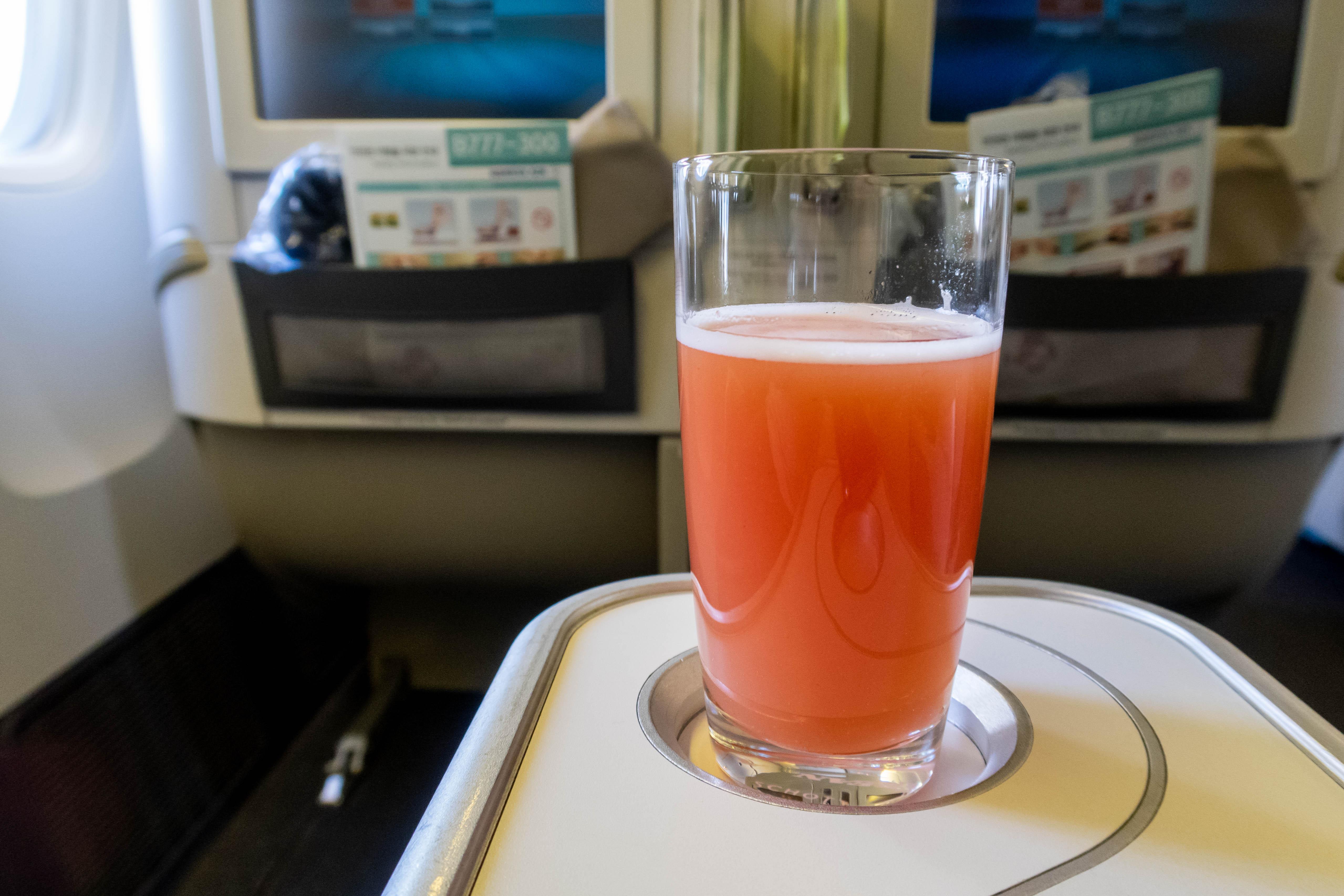 Korean Air Business Class Welcome Drink
