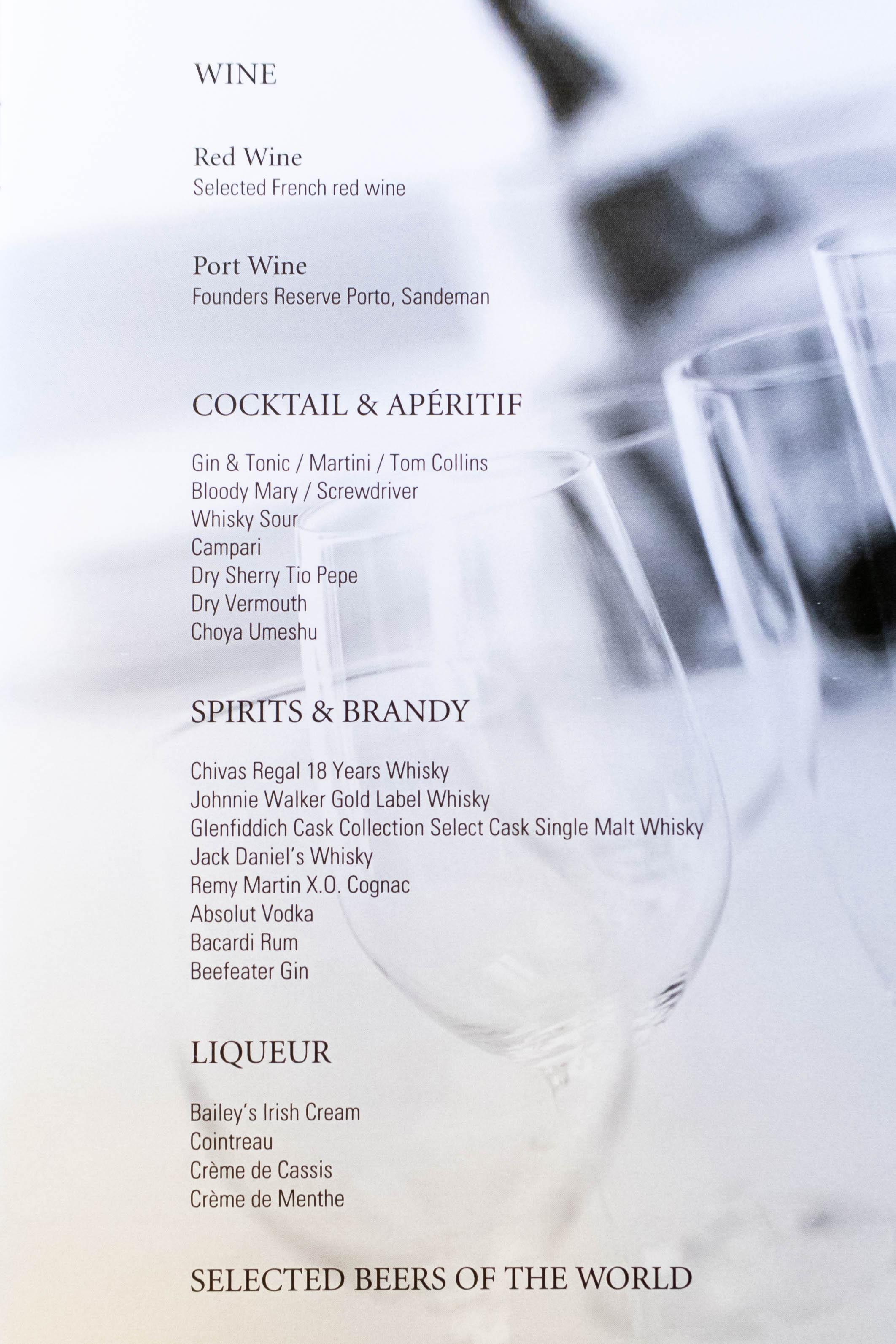 Korean Air Business Class Drink List