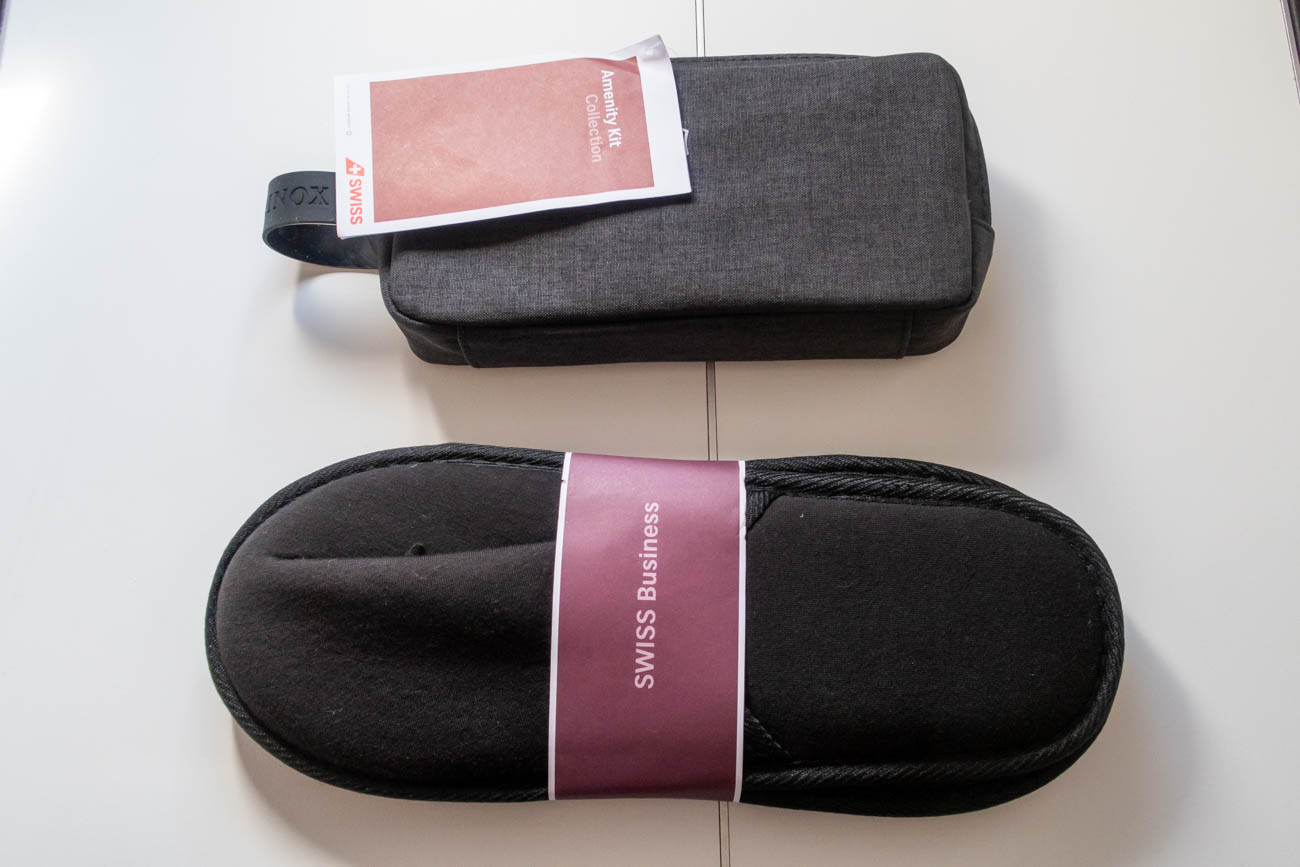 Swiss 777-300ER Business Class Amenity Kit and Slippers