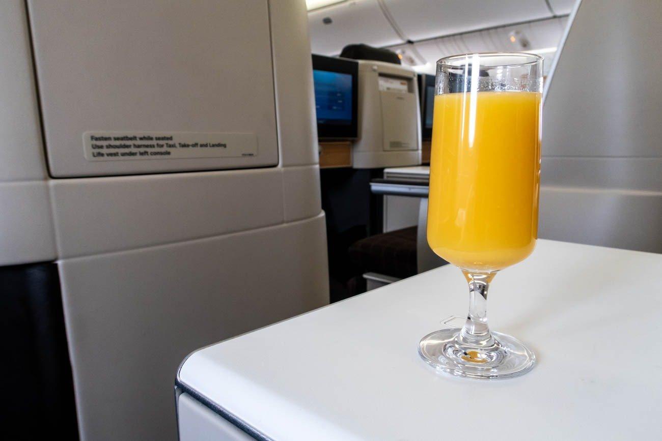 Swiss 777-300ER Business Class Welcome Drink