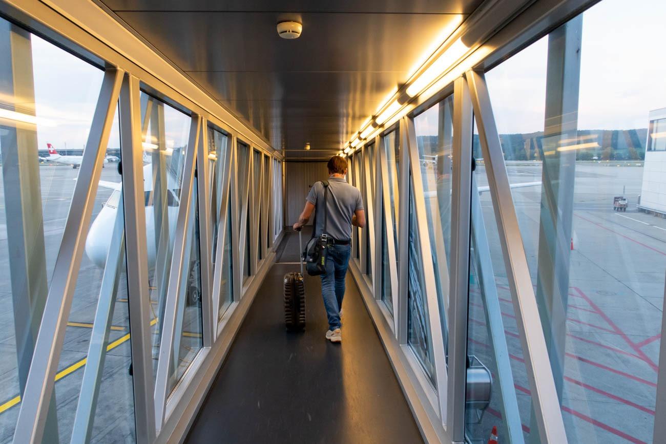 Boarding Austrian Flight 566